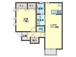 クレアー・コーディアルC棟[1階]の間取り