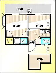 東京都中野区上高田1丁目の賃貸アパートの間取り