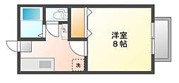 岡山県岡山市北区富田の賃貸アパートの間取り