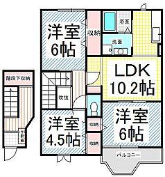 長野県長野市松岡2丁目の賃貸アパートの間取り