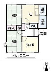 ドエル千間堂(南棟)[2階]の間取り