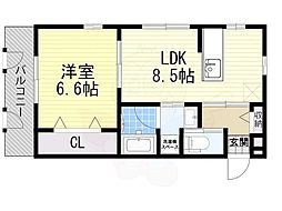 阪急宝塚本線 庄内駅 徒歩8分の賃貸アパート 2階1LDKの間取り