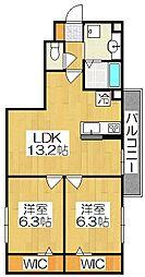 京都府京都市山科区西野野色町の賃貸アパートの間取り