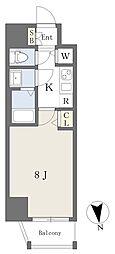 アースマンズ大阪城 2階1Kの間取り