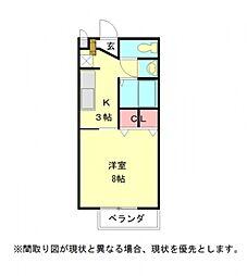 愛知県岩倉市大市場町郷廻の賃貸アパートの間取り