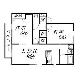 静岡県浜松市東区半田山1丁目の賃貸アパートの間取り