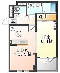 JR山陽本線 上道駅 徒歩17分の賃貸アパート 1階1LDKの間取り