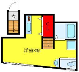 LAVA TOWAR 2階ワンルームの間取り