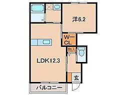 モイスシャームM 1階1LDKの間取り