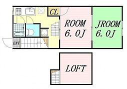 ピースハウス 2階2SDKの間取り