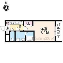 京阪本線 出町柳駅 徒歩20分の賃貸マンション 3階1Kの間取り