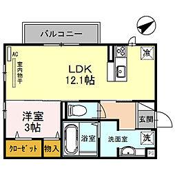 ベッラカーサII 2階1LDKの間取り