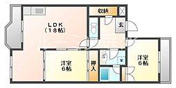 兵庫県神戸市垂水区桃山台2丁目の賃貸アパートの間取り
