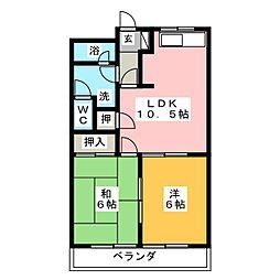 ハイツタチバナ[1階]の間取り