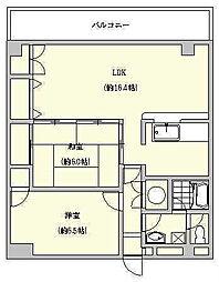 博多駅東コーポ[3-C号室]の間取り