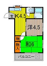 サンバレー上青木[2階]の間取り