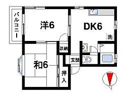 メゾン秋篠I[1階]の間取り
