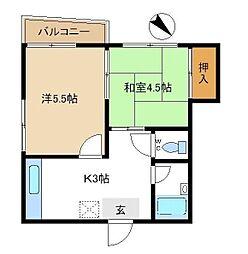 神奈川県横浜市南区伏見町の賃貸マンションの間取り