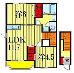 千葉県船橋市旭町3丁目の賃貸アパートの間取り