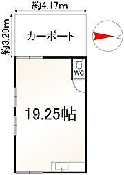 JR山陰本線 丹波口駅 徒歩5分 ワンルームの間取り