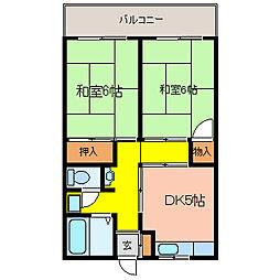 東山本ハイツ[510号室]の間取り