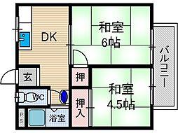 園田ハイムB棟[1階]の間取り