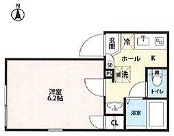 西武池袋線 東長崎駅 徒歩5分の賃貸マンション 1階1Kの間取り