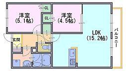 メゾン・ポルテボヌール[2階]の間取り