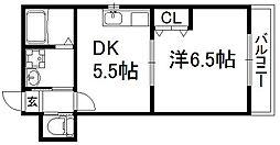 京都府京都市伏見区深草西浦町5丁目の賃貸マンションの間取り