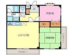 愛知県常滑市字長間の賃貸アパートの間取り