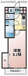 ラグゼ新大阪SOUTH 4階1Kの間取り