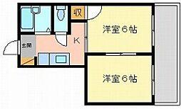 ファミール伊福町[2階]の間取り