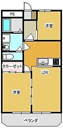 千葉県松戸市新松戸北1丁目の賃貸マンションの間取り