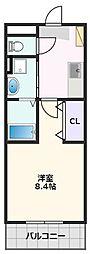(仮)クレシタ吹田 3階1Kの間取り