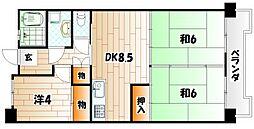 サンハイツ前田5号棟[7階]の間取り