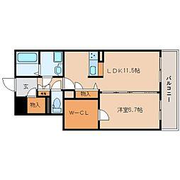 近鉄大阪線 五位堂駅 徒歩2分の賃貸マンション 2階1SLDKの間取り