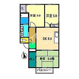 グリーンパレス福井A棟[2階]の間取り