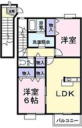 ハピネスタウンIII 2棟[2階]の間取り
