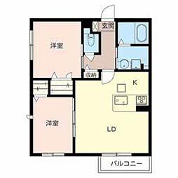 大阪府堺市南区原山台5丁の賃貸アパートの間取り