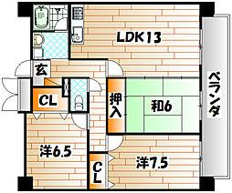 福岡県行橋市中央3丁目の賃貸マンションの間取り