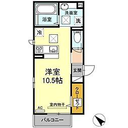 JR山陽本線 下関駅 徒歩27分の賃貸アパート 1階ワンルームの間取り