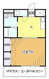 東京都東大和市中央1の賃貸マンションの間取り