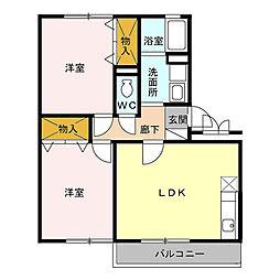 メゾン一の坪[2階]の間取り
