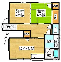 静岡県三島市八反畑の賃貸アパートの間取り