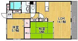 ベレーザ香里園[2階]の間取り