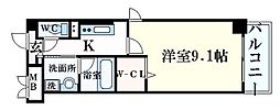 JR東海道・山陽本線 甲南山手駅 徒歩6分の賃貸マンション 3階1Kの間取り
