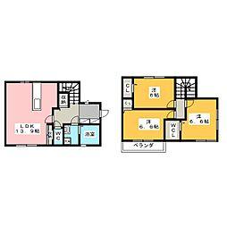 [一戸建] 岡山県岡山市北区白石西新町 の賃貸【/】の間取り
