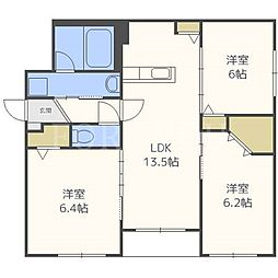北海道札幌市厚別区厚別西一条3丁目の賃貸マンションの間取り