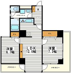 大阪府大阪市天王寺区上本町2丁目の賃貸マンションの間取り