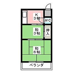八尾荘 南棟[2階]の間取り